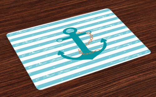 Teal Platzmatte Schiff Anker Marine Life 4er Tischsets Tischdekoration