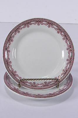 """2 Sterling Vitrified China Restaurant Ware 1930-50 Plates 6 3/8"""" Burgundy Floral"""