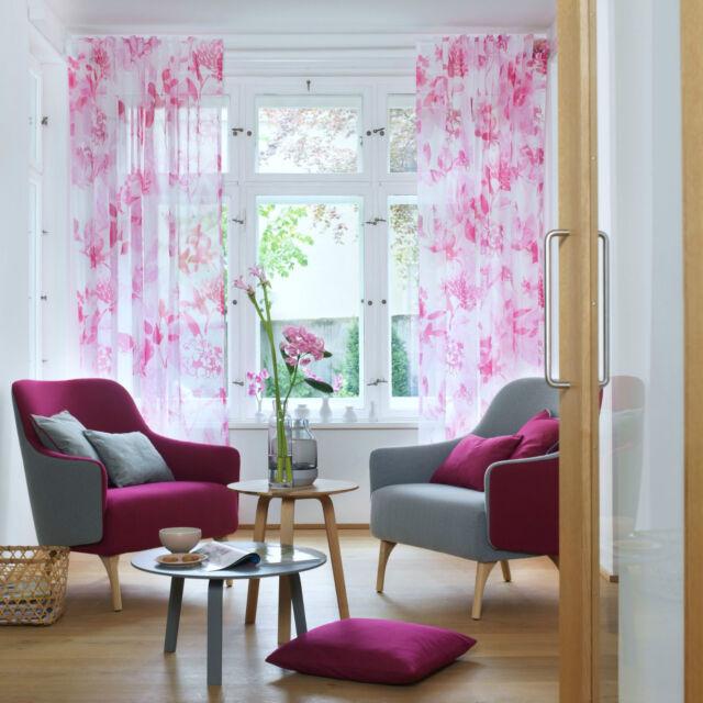 """""""stoffdesign!""""DALIA /transparenter/3.10 hoher Voile,weiss mit pink Blumen/JAB"""