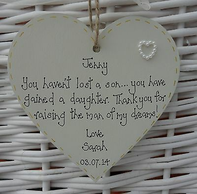 Mother of the Groom Wedding  personalised heart keepsake 10cm