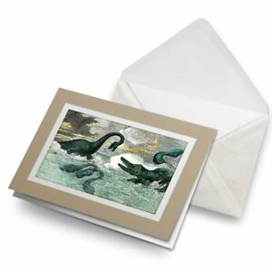 Greetings-Card-Biege-Plesiosaur-Ichthyosaur-Dinosaur-Sea-24040