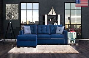 Contemporary Blue Fabric Sectional Sofa Chaise Made In USA Accented Piping Trim