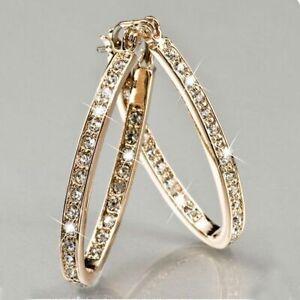 Women-Fashion-Gold-Filled-White-Topaz-Crystal-Hook-Hoop-Earrings-Wedding-Jewelry
