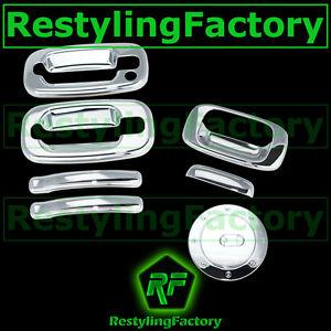 99-06-Chevy-Silverado-Triple-Chrome-2-Door-handle-w-o-PSG-KH-Tailgate-Gas-Cover