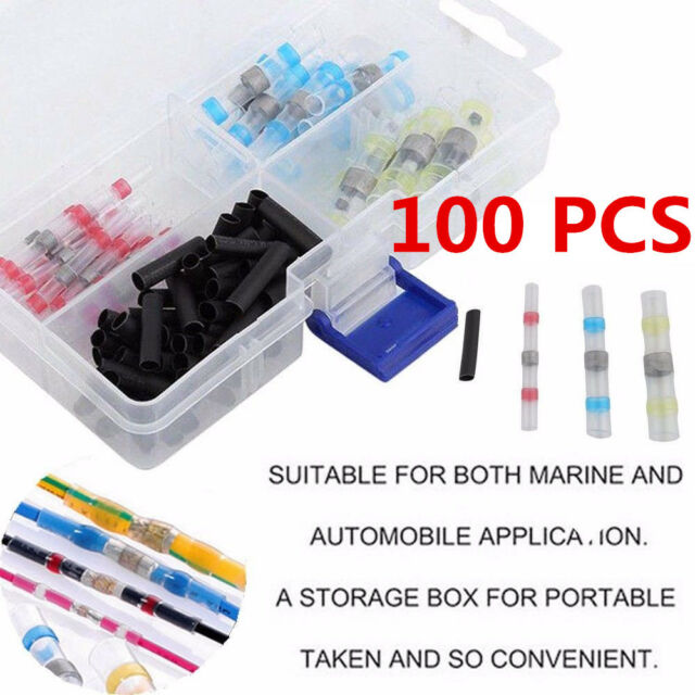 100 X Tinned Copper Car Solder Sleeve Heat Shrink Butt Wire Connectors Kit White