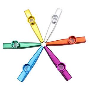 Neues Kazoo Metall mitFlötenmembran.Geschenk für Kinder Musik Liebhaber 6FarbenX