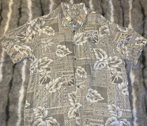 Batik Bay beige hellbraun Kurzarm Button Down Hawaii Blumenmuster Shirt Herren XL