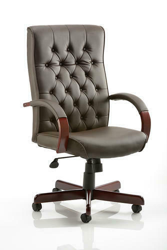 Chesterfield Executive Chair Brown//Burgundy//Cream//Green Leather With Arms