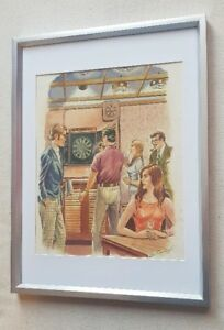 Leo-Rawlings-1918-1984-original-signed-water-colour-painting-The-Darts-Game