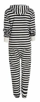 UNISEX NEW STRIPED JUMPSUIT HOODED ZIP ONESIE PLAYSUIT ALL IN ONE 4 SIZES 5COLOR