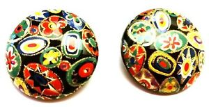 Vintage-Lucite-Multi-Color-Mosaic-Look-Clip-on-Earrings