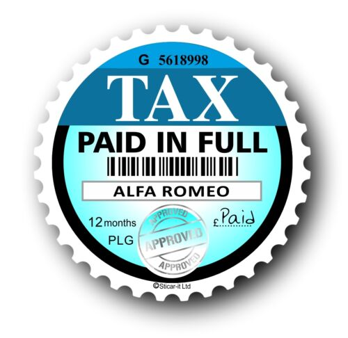 Novelty Tax Disc Replacement Road Fund Licence Car sticker Fits all Alfa Romeo