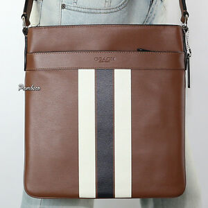 14c5e804f3d8 NWT Coach Mens Charles Varsity Leather Crossbody Bag F54193 Saddle ...