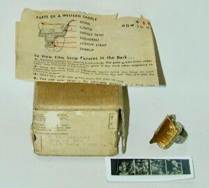 Lone Ranger Saddle Film Viewer Ring + Instructions + Original Mailer/Box 1951