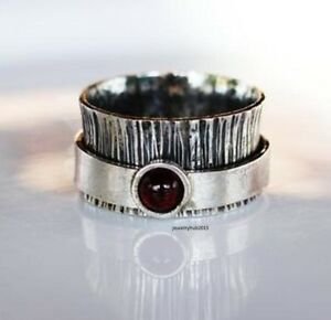 Garnet-Stone-Solid-925-Sterling-Silver-Spinner-Ring-Meditation-statement-Ring