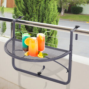 Adjustable Hanging Rail Table Mini Desk Storage Rack Flower Stand Grey