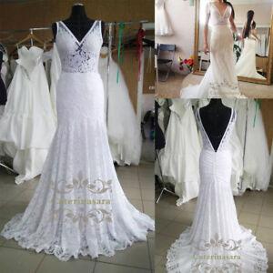b40d690cb La imagen se está cargando Vestido-de-boda-de-encaje-sirena-con-espalda-