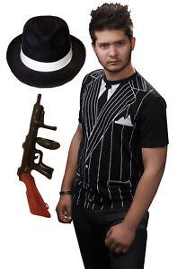 Mens-Boys-20-s-Gangster-Printed-T-Shirt-Gun-amp-Hat-Fancy-Dress-Costume