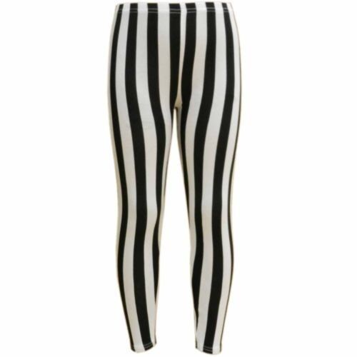 Girls Kids Black And White Stripe Leggings Striped New Age 7 8 9 10 11 12 13