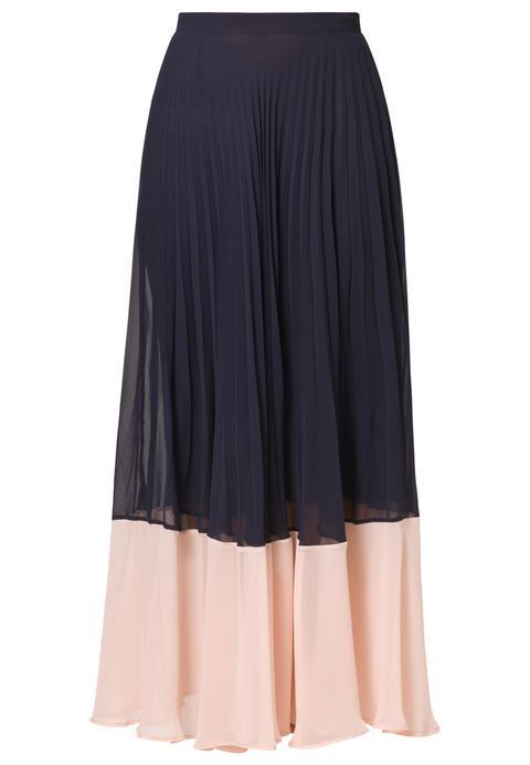 French Connection Pleated Full Length Maxi Skirt in Navy bluee Pink 2 XS NWT  148
