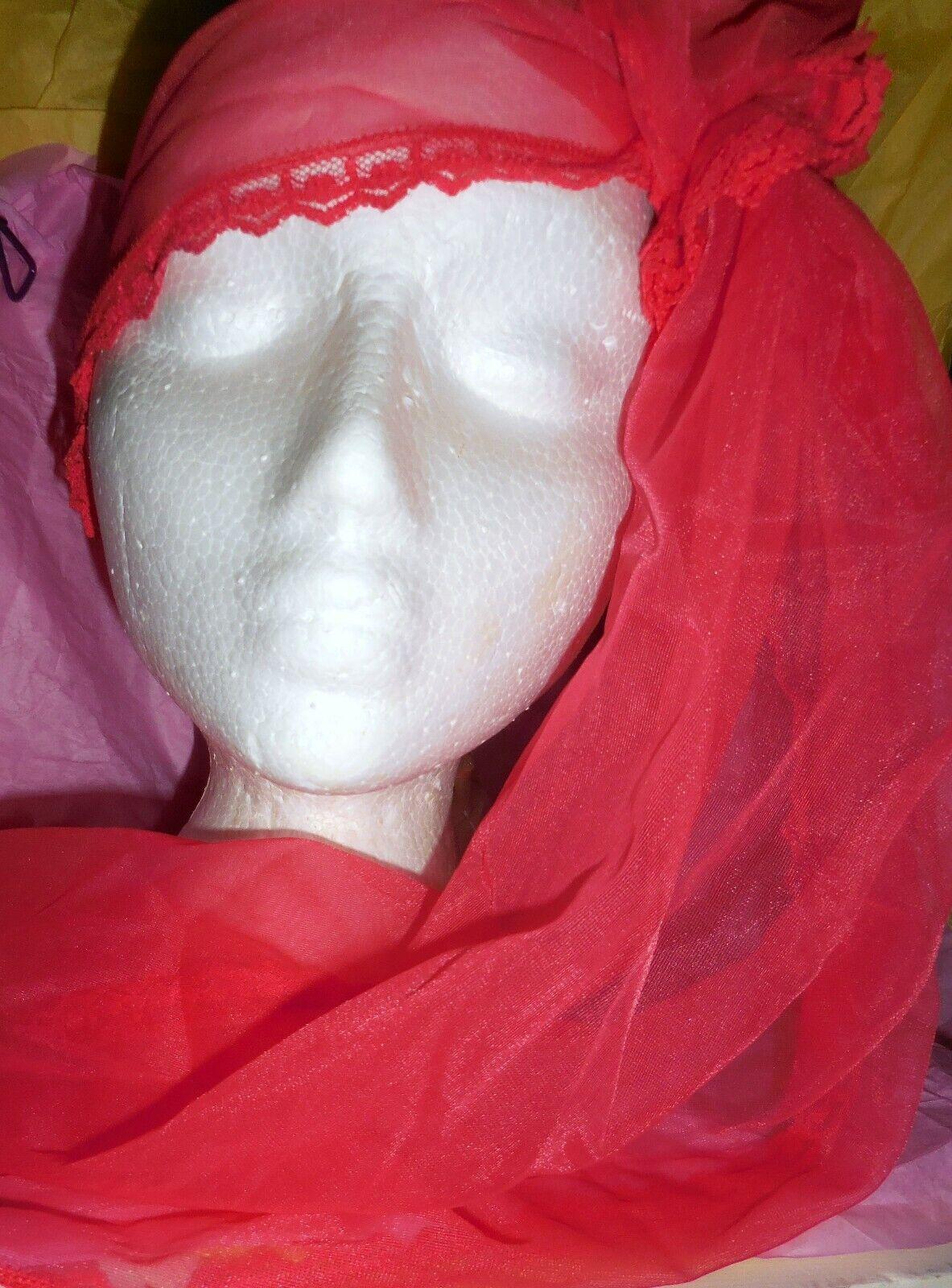 Vintage Snood Shocking Pink Nylon Chiffon Hair Wr… - image 10