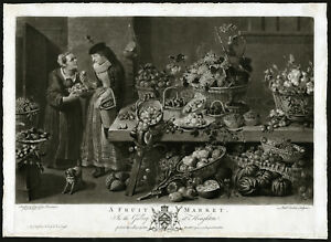 Rare Antique Master Print-FRUIT MARKET-MONKEY-SQUIRREL-Earlom-Snyders-1782
