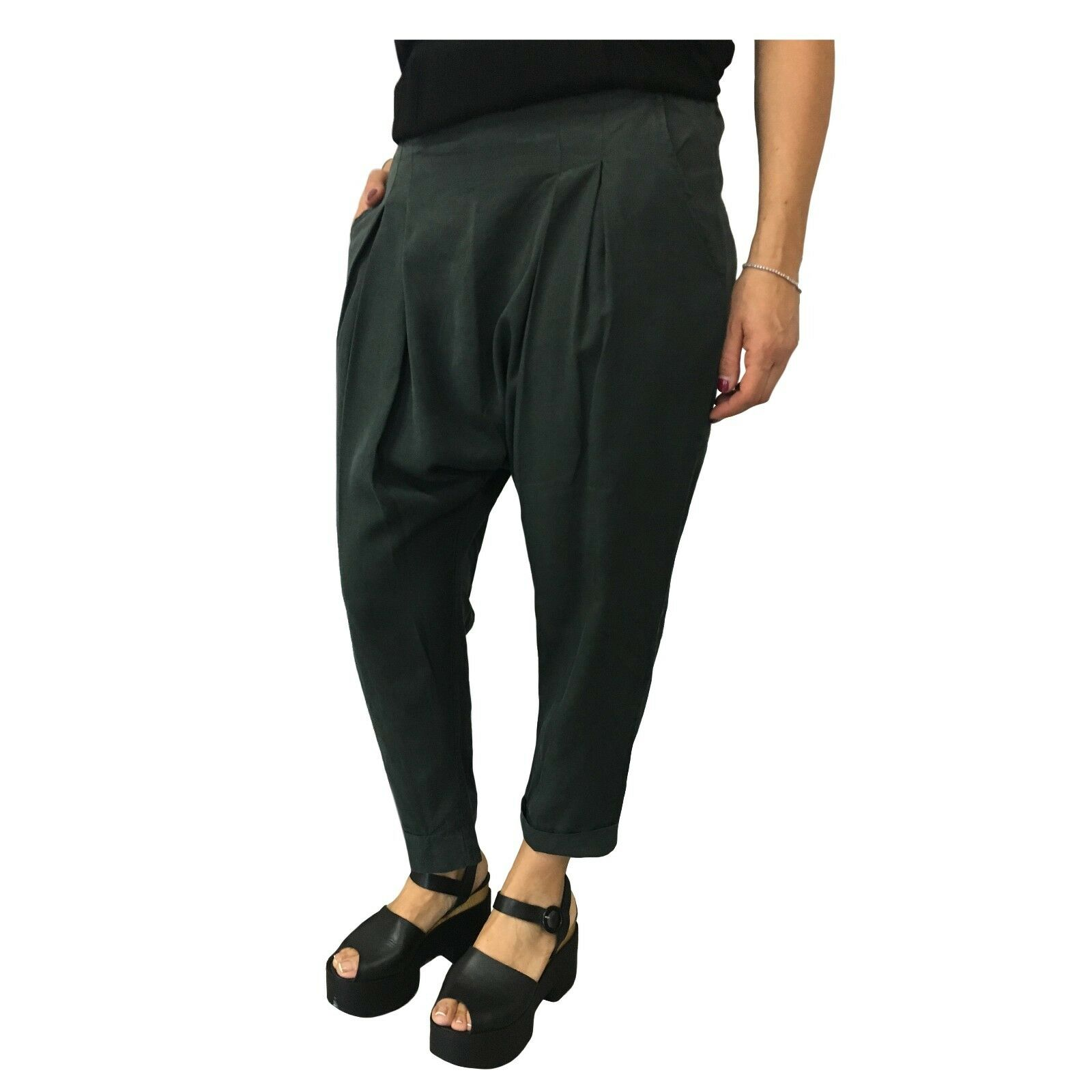 HUMILITY 1949 women's trousers dark green with elastic mod HA6100 MADE IN ITALY