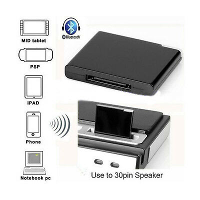 Bluetooth Wireless Dock Adapter Musik Audio Receiver 30 Pin Ipad Iphone Ipod