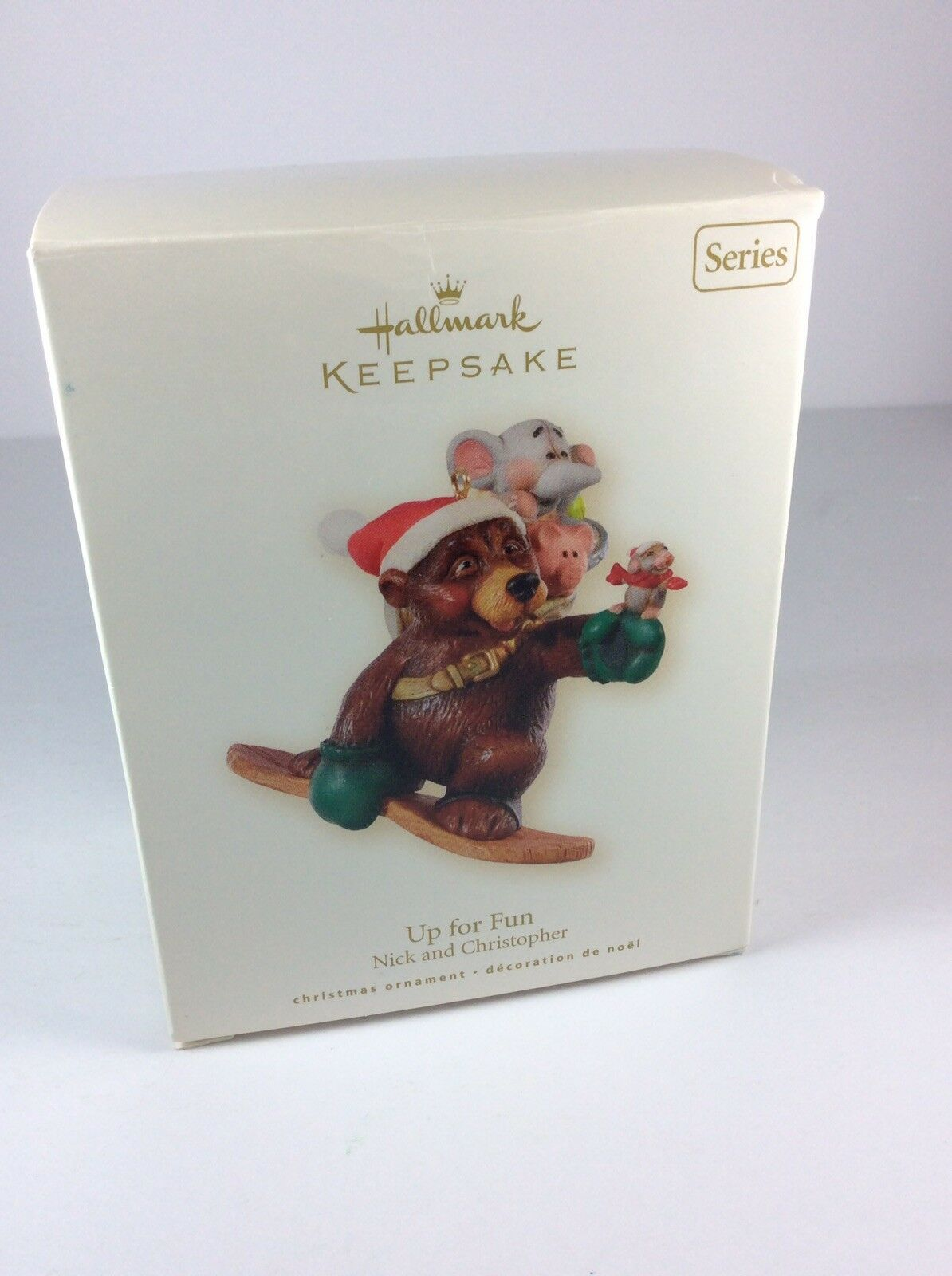 2008 Hallmark UP FOR FUN Ornament NICK AND CHRISTOPHER #5 Mouse /& Bear SNOWBOARD