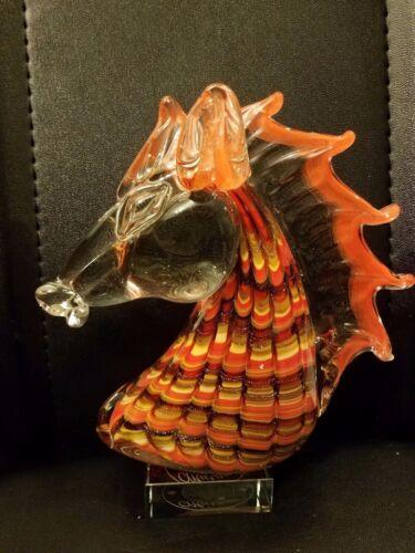 Hand Blown Murano Style Art Glass Horse Head Sculpture Figurine 7x2.5x7.5