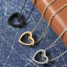 2020 Fashion Women Heart Stainless Steel Chain Pendant Charm Necklace Jewelry