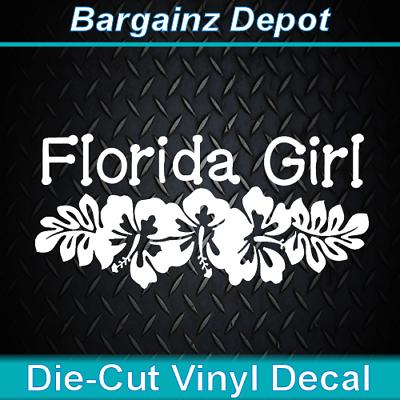 Vinyl Decal. Floridian Hibiscus Seashell Tropical Car Sticker FLORIDA GIRL.