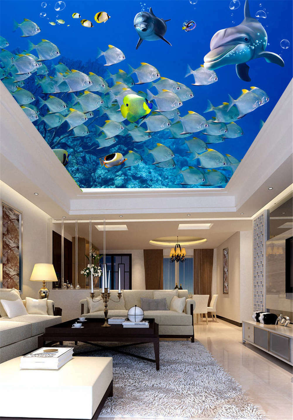 Smart Agminate Fish 3D Ceiling Mural Full Wall Photo Wallpaper Print Home Decor