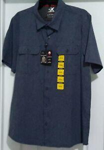 NWT-Men-039-s-ZEROXPOSUR-Heather-Navy-Travel-Series-Shirt-Sun-Protection-Medium