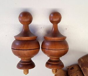 2 Antique French Wood Finial End Furniture Salvaged Architectural