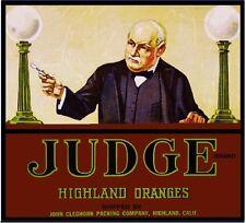 Highland San Bernardino County Judge Orange Citrus Fruit Crate Label Art Print