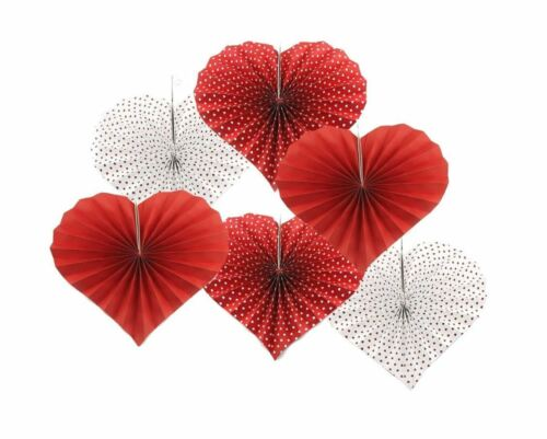 12pc Valentines Day Party Paper Fan Decor Hanging Love Heart Wedding Engagement