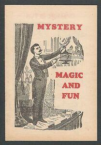 "1920'S ""MYSTERY MAGIC AND FUN"" MAGICIANS CATALOG TRICKS CONIMICUT RHODE ISLAND"