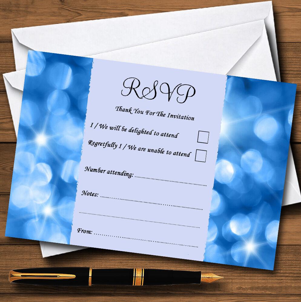 Les fête lumières bleues personnalisé mariage ou fête Les RSVP cartes bd9260