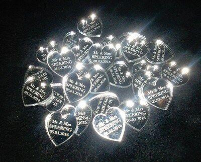 100 Personalised Mirror Love Heart Wedding Decorations Bonbonnieres