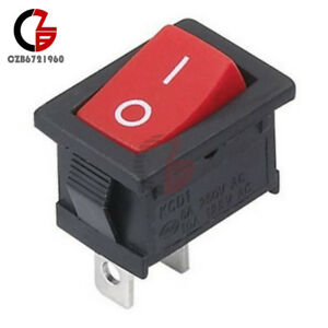 10Pcs Red Rocker Switch 2 Pin KCD1-101 250 V 6 A Boatlike Switch