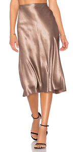 245 NWT VINCE Flare Midi Elastic Waist Satin Brown Skirt sz L