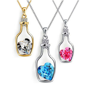 Silver-Love-Heart-Crystal-Wishing-Bottle-Pendant-Chain-Necklace-Womens-Jewellery