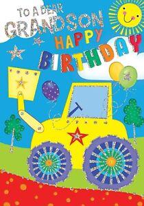 To a Dear Grandson Happy Birthday. Fun Tractor Birthday Card