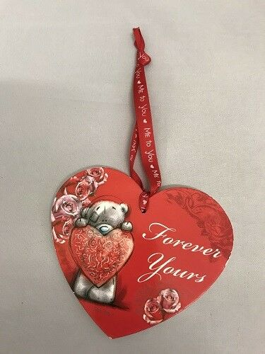 Tatty Ted Me to You Red Heart Shaped Plaque on Red Ribbon with Loving Sayings