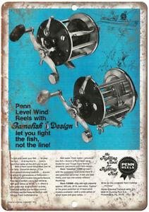 "PENN Fishing Reel Tackle Vintage Printe Ad  10/'/"" x 7/"" Reproduction Metal Sign"