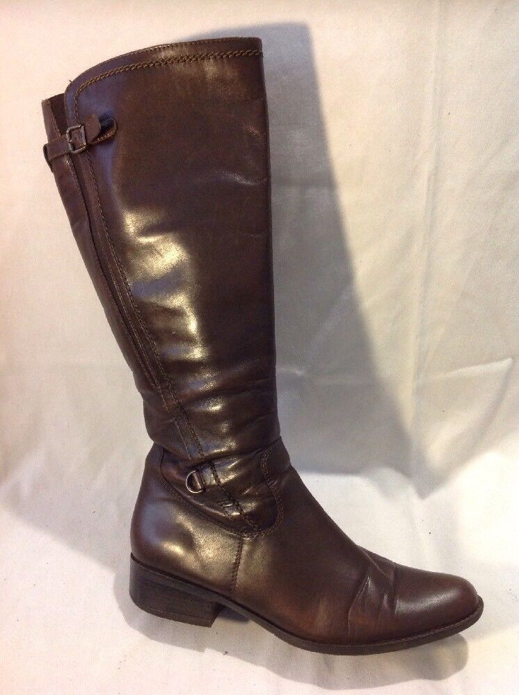 Ladies Brown Knee High Leather Boots Size 40