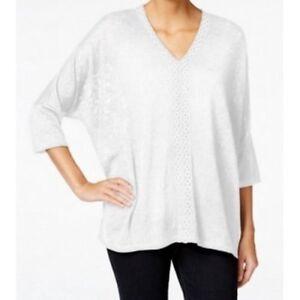 Style-amp-Co-Women-039-s-Dolman-V-Neckline-Crochet-Trim-Top-White-X-Large-Size