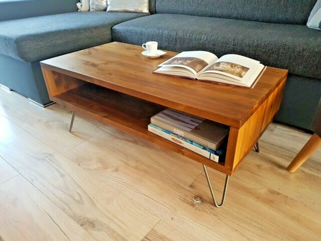 Rustic Retro Vintage Wooden Coffee Table Tv Unit Metal Hairpin Legs
