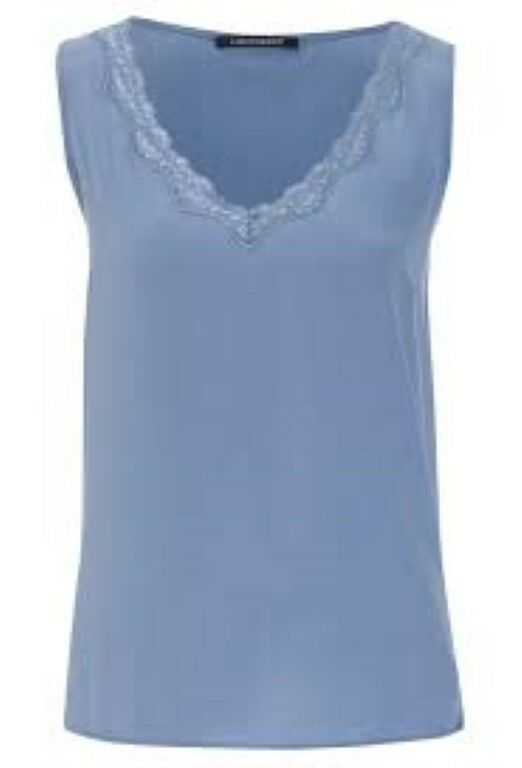 Luisa Cerano Silk Lace Trim Vest Blau Größe 36 Ladies RRP  Box45 74 A